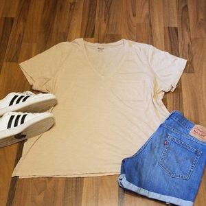 Madewell Tan V-neck Tshirt Top With Pocket Plus 2X